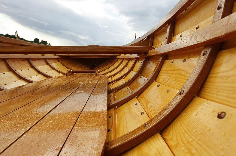 wooden boat with rivets