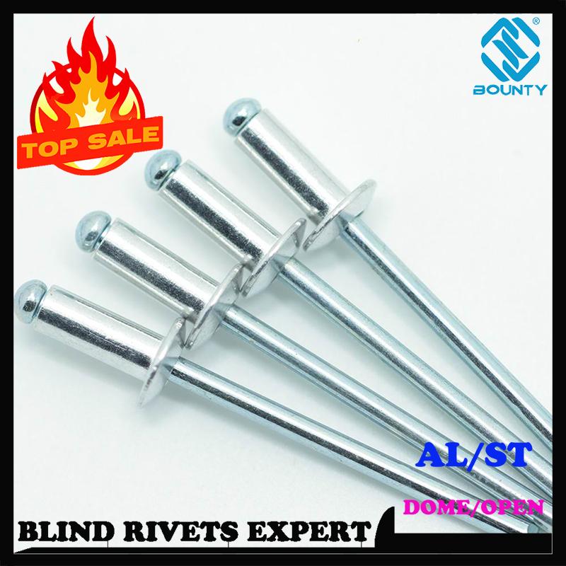 3.2x 6-6.4 X 12mm Steel Blind Pop Dome Head Sealed Rivets Metric Aluminium